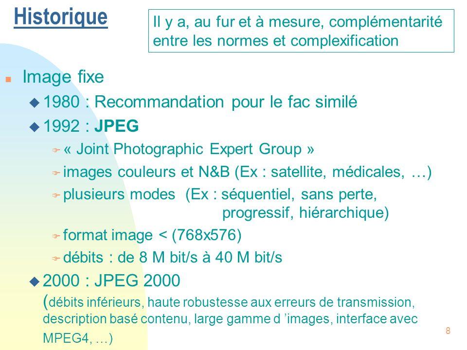 9 n Vidéo : visiophonie u 1990 : H261 F téléphonie visuelle sur le RNIS [« ISDN »] ( Réseau Numérique à Intégration de Services, 64 k bit/s ) F formats image CIF (« Common Intermediate Format » ) et QCIF ( « Quarter CIF » ) F débits : px64 k bit/s (p : de 1 à 30) u 1996 : H263 F débits inférieurs car pour réseau LAN ( 28.8 k bit/s ) F formats image SQCIF, 4CIF, 16CIF 30 images/s