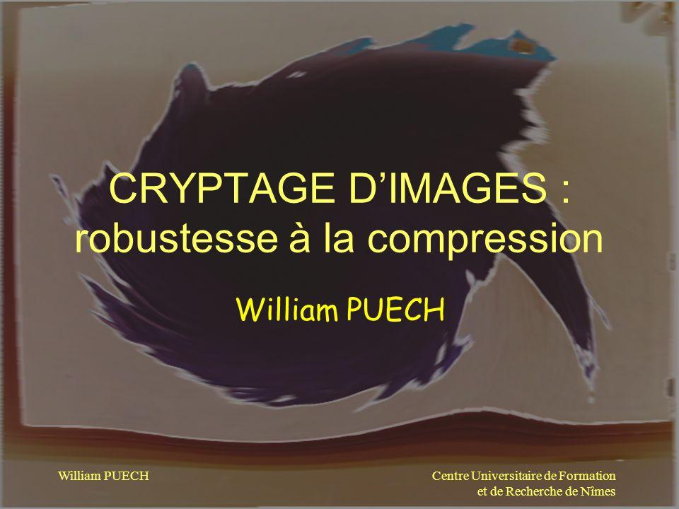Centre Universitaire de Formation et de Recherche de Nîmes William PUECH Cryptage par TEA par blocs 3x3 pixels (dont 1 pixel clair masqué) TEA : blocs 9 pixels Comprimé FQ=80% 65 k0 39 kO Image basse résolution À partir de limage cryptée et comprimée Image basse résolution À partir de limage cryptée et comprimée FQ=80% décryptage Compression JPEG et TEA : blocs 9 pixels Comprimé FQ=100% 65 k0 101 kO
