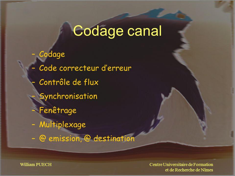 Centre Universitaire de Formation et de Recherche de Nîmes William PUECH Codage canal –Codage –Code correcteur derreur –Contrôle de flux –Synchronisat