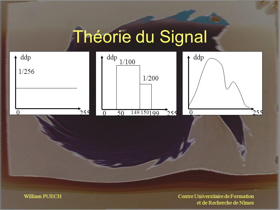 Centre Universitaire de Formation et de Recherche de Nîmes William PUECH Théorie du Signal 0 255 ddp 1/256 0 255 ddp 1/100 1/200 50 149 199 150 0 255