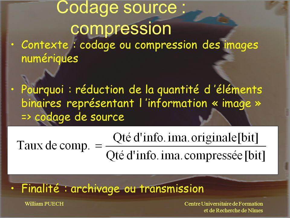 Centre Universitaire de Formation et de Recherche de Nîmes William PUECH Codage source : compression Contexte : codage ou compression des images numér