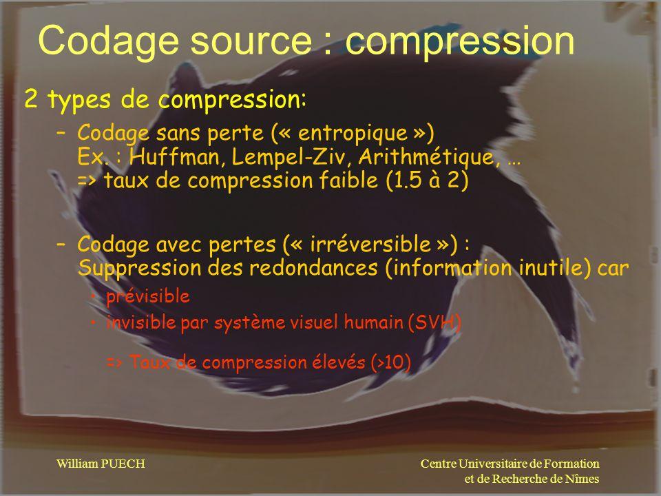 Centre Universitaire de Formation et de Recherche de Nîmes William PUECH Codage source : compression 2 types de compression: –Codage sans perte (« ent