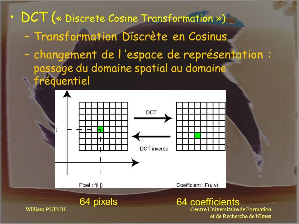 Centre Universitaire de Formation et de Recherche de Nîmes William PUECH DCT ( « Discrete Cosine Transformation ») –Transformation Discrète en Cosinus