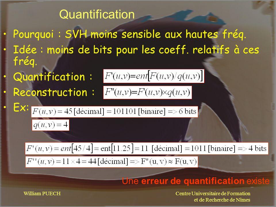 Centre Universitaire de Formation et de Recherche de Nîmes William PUECH Quantification Pourquoi : SVH moins sensible aux hautes fréq. Idée : moins de