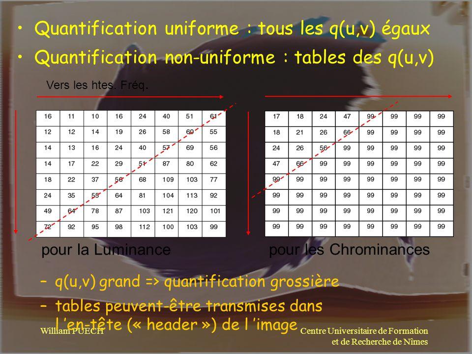 Centre Universitaire de Formation et de Recherche de Nîmes William PUECH Quantification uniforme : tous les q(u,v) égaux Quantification non-uniforme :