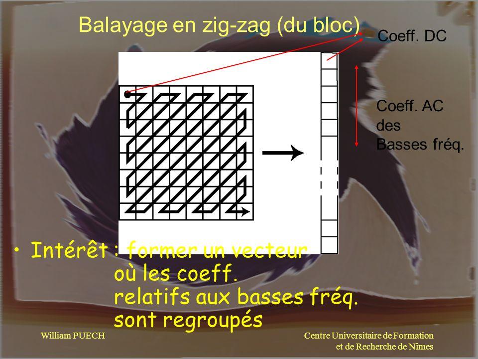 Centre Universitaire de Formation et de Recherche de Nîmes William PUECH Balayage en zig-zag (du bloc) Intérêt : former un vecteur où les coeff. relat