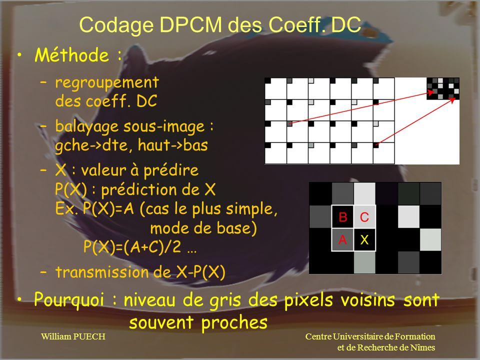 Centre Universitaire de Formation et de Recherche de Nîmes William PUECH Codage DPCM des Coeff. DC Méthode : –regroupement des coeff. DC –balayage sou