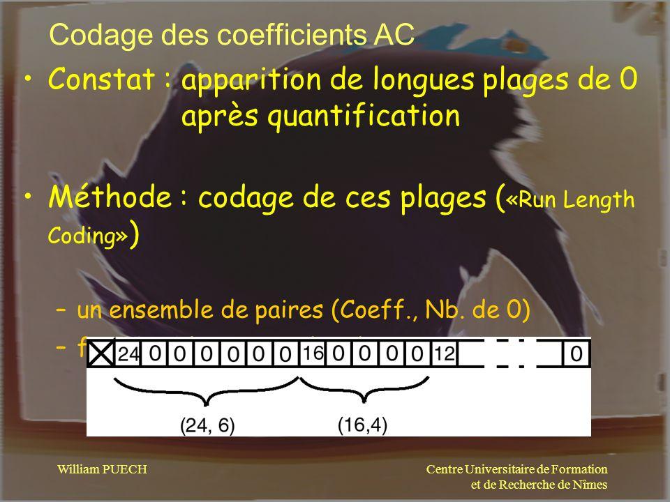 Centre Universitaire de Formation et de Recherche de Nîmes William PUECH Codage des coefficients AC Constat : apparition de longues plages de 0 après