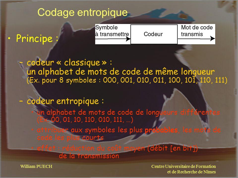 Centre Universitaire de Formation et de Recherche de Nîmes William PUECH Codage entropique Principe : –codeur « classique » : un alphabet de mots de c