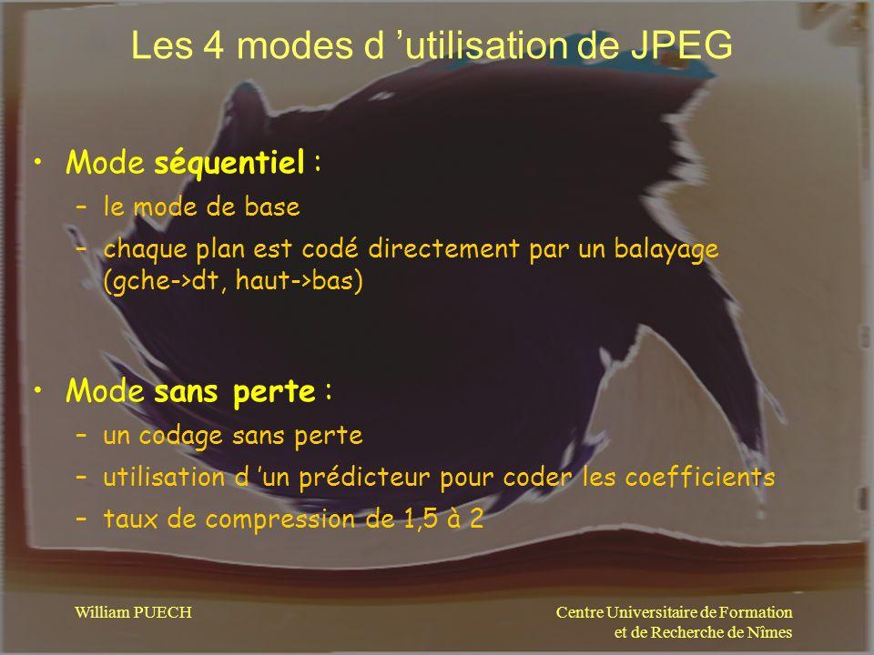 Centre Universitaire de Formation et de Recherche de Nîmes William PUECH Les 4 modes d utilisation de JPEG Mode séquentiel : –le mode de base –chaque