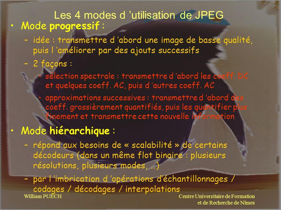 Centre Universitaire de Formation et de Recherche de Nîmes William PUECH Les 4 modes d utilisation de JPEG Mode progressif : –idée : transmettre d abo