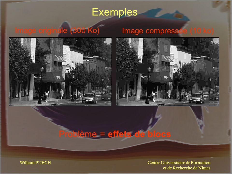 Centre Universitaire de Formation et de Recherche de Nîmes William PUECH Exemples Image originale (300 Ko) Image compressée (10 ko) Problème = effets