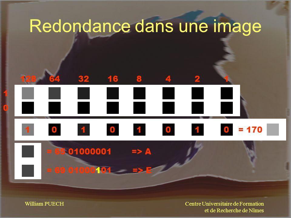 Centre Universitaire de Formation et de Recherche de Nîmes William PUECH Redondance dans une image 1286432168421 1010 11110000= 170 = 65 01000001 = 69