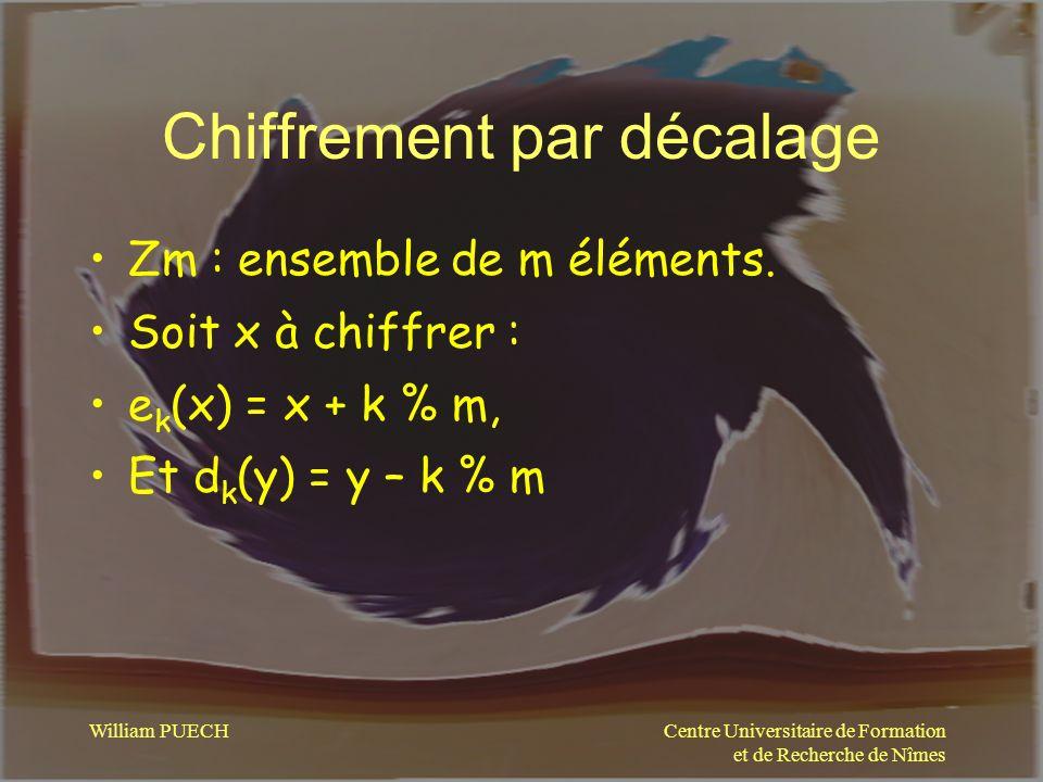 Centre Universitaire de Formation et de Recherche de Nîmes William PUECH Chiffrement par décalage Zm : ensemble de m éléments. Soit x à chiffrer : e k