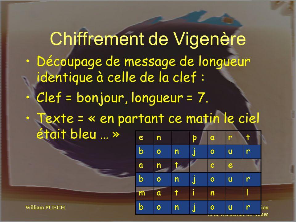 Centre Universitaire de Formation et de Recherche de Nîmes William PUECH Chiffrement de Vigenère Découpage de message de longueur identique à celle de