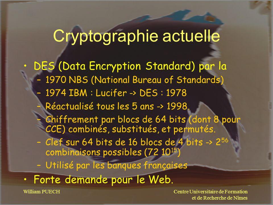 Centre Universitaire de Formation et de Recherche de Nîmes William PUECH Cryptographie actuelle DES (Data Encryption Standard) par la –1970 NBS (Natio