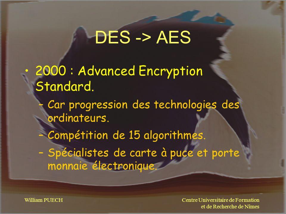 Centre Universitaire de Formation et de Recherche de Nîmes William PUECH DES -> AES 2000 : Advanced Encryption Standard. –Car progression des technolo