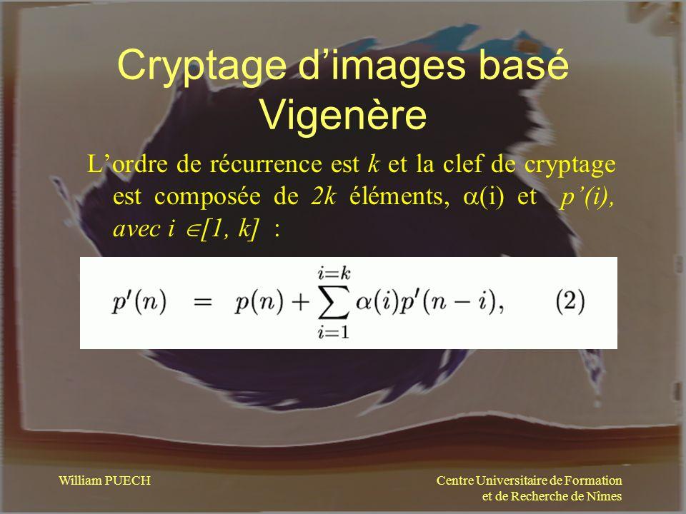Centre Universitaire de Formation et de Recherche de Nîmes William PUECH Cryptage dimages basé Vigenère Lordre de récurrence est k et la clef de crypt