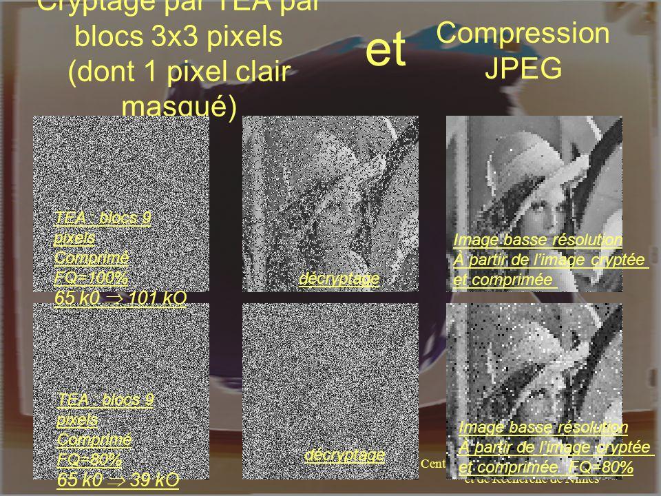 Centre Universitaire de Formation et de Recherche de Nîmes William PUECH Cryptage par TEA par blocs 3x3 pixels (dont 1 pixel clair masqué) TEA : blocs