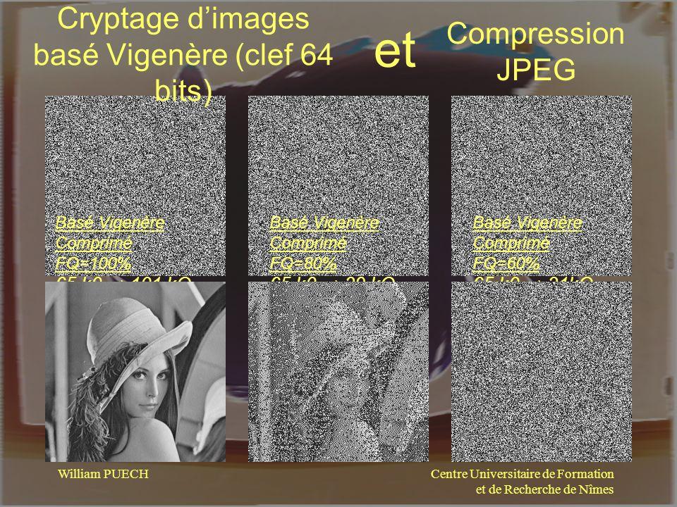 Centre Universitaire de Formation et de Recherche de Nîmes William PUECH Cryptage dimages basé Vigenère (clef 64 bits) Compression JPEG et Basé Vigenè