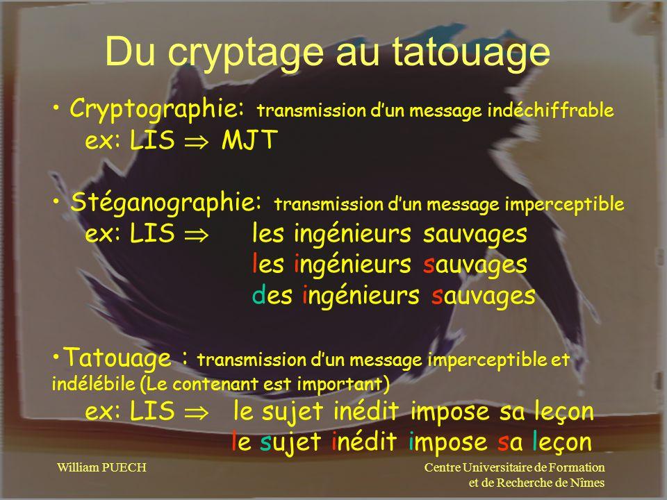 Centre Universitaire de Formation et de Recherche de Nîmes William PUECH Cryptographie: transmission dun message indéchiffrable ex: LIS MJT Stéganogra