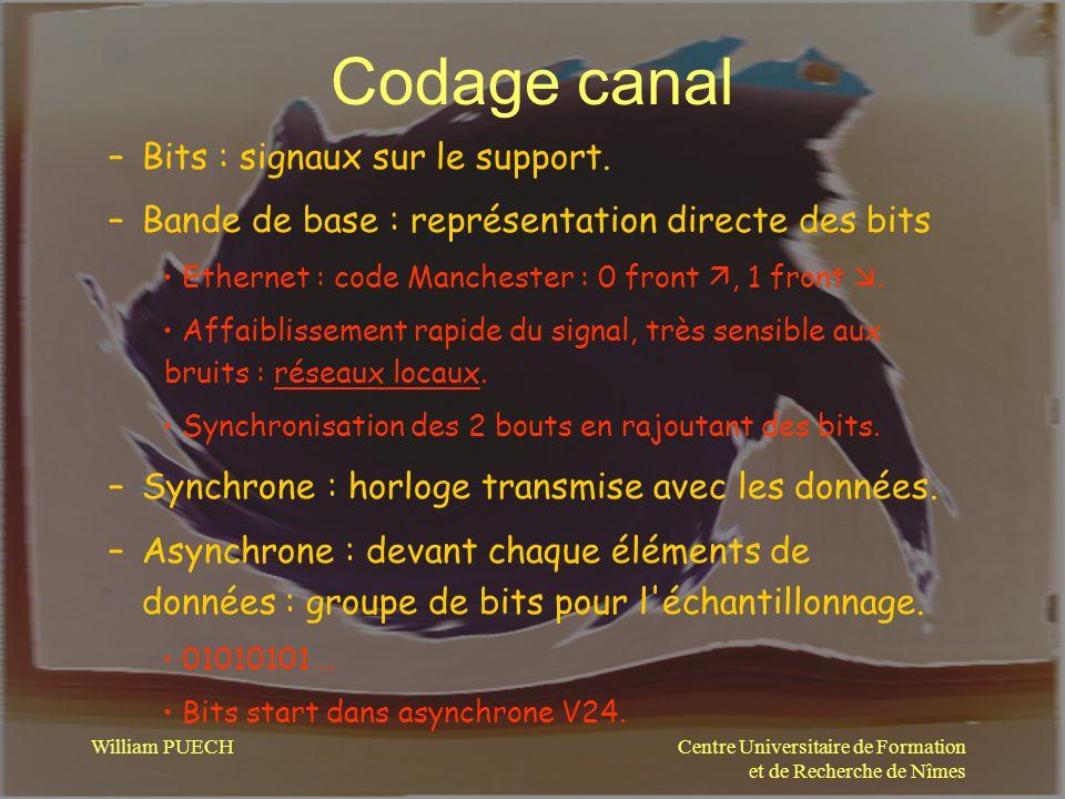 Centre Universitaire de Formation et de Recherche de Nîmes William PUECH Codage canal –Codage –Code correcteur derreur –Contrôle de flux –Synchronisation –Fenêtrage –Multiplexage –@ emission, @ destination