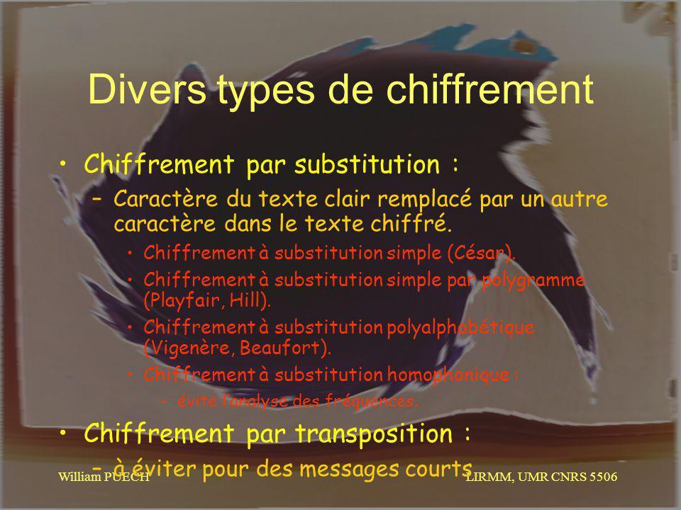 LIRMM, UMR CNRS 5506 William PUECH Divers types de chiffrement Chiffrement par substitution : –Caractère du texte clair remplacé par un autre caractèr