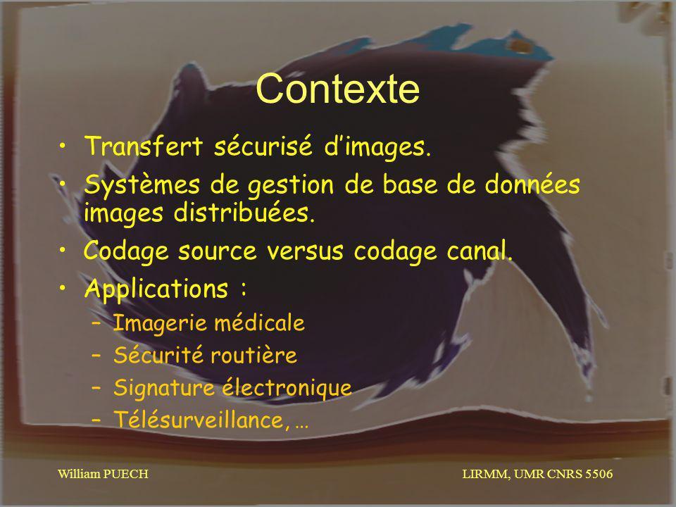 LIRMM, UMR CNRS 5506 William PUECH Contexte Transfert sécurisé dimages. Systèmes de gestion de base de données images distribuées. Codage source versu