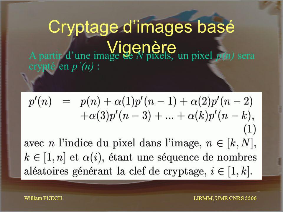 LIRMM, UMR CNRS 5506 William PUECH Cryptage dimages basé Vigenère A partir dune image de N pixels, un pixel p(n) sera crypté en p(n) :