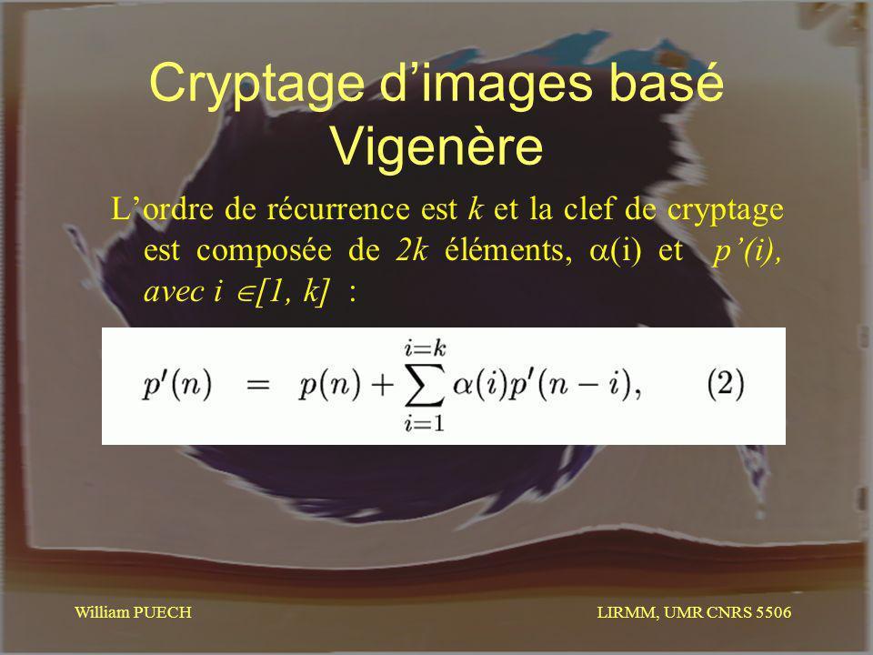 LIRMM, UMR CNRS 5506 William PUECH Cryptage dimages basé Vigenère Lordre de récurrence est k et la clef de cryptage est composée de 2k éléments, (i) e