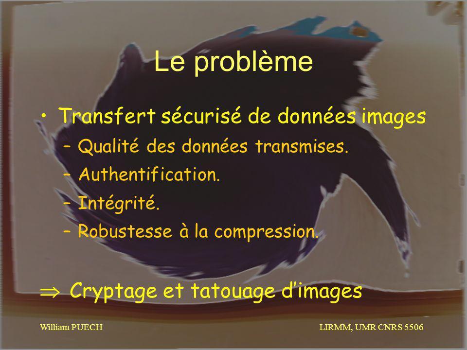 LIRMM, UMR CNRS 5506 William PUECH Le problème Transfert sécurisé de données images –Qualité des données transmises. –Authentification. –Intégrité. –R