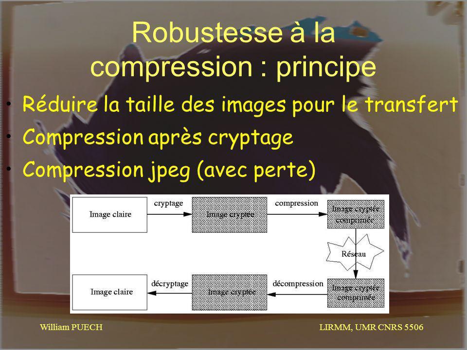 LIRMM, UMR CNRS 5506 William PUECH Robustesse à la compression : principe Réduire la taille des images pour le transfert Compression après cryptage Co