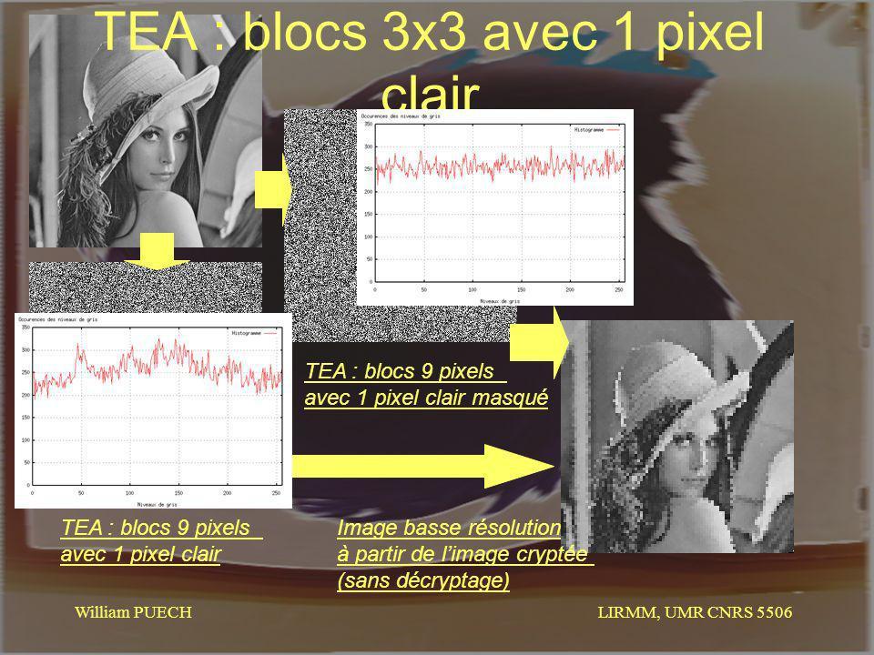 LIRMM, UMR CNRS 5506 William PUECH TEA : blocs 3x3 avec 1 pixel clair TEA : blocs 9 pixels avec 1 pixel clair TEA : blocs 9 pixels avec 1 pixel clair