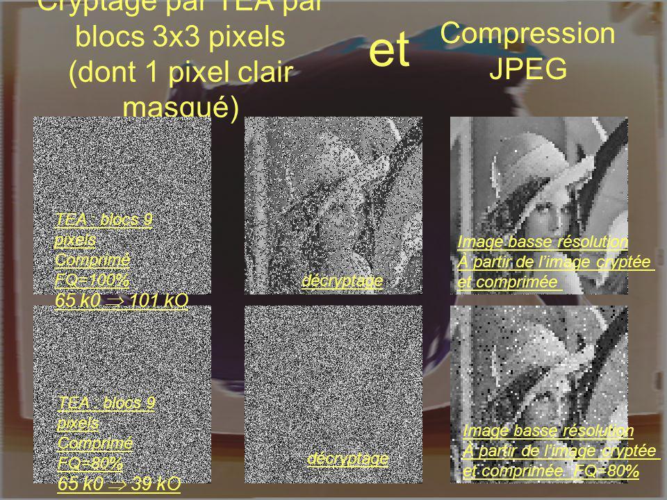 LIRMM, UMR CNRS 5506 William PUECH Cryptage par TEA par blocs 3x3 pixels (dont 1 pixel clair masqué) TEA : blocs 9 pixels Comprimé FQ=80% 65 k0 39 kO