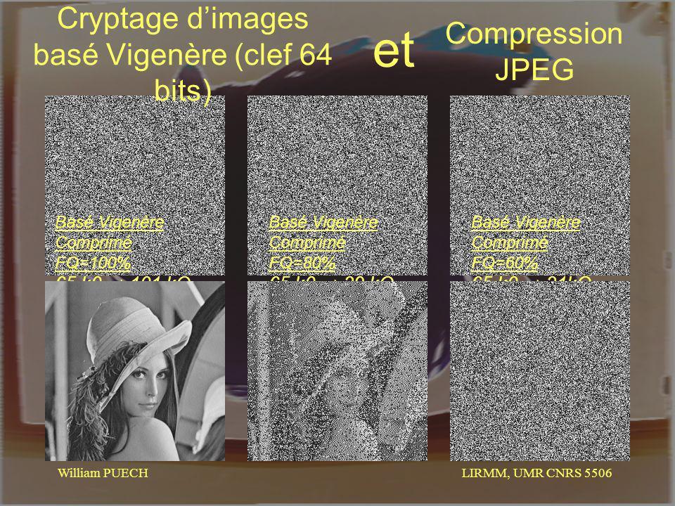 LIRMM, UMR CNRS 5506 William PUECH Cryptage dimages basé Vigenère (clef 64 bits) Compression JPEG et Basé Vigenère Comprimé FQ=100% 65 k0 101 kO Basé