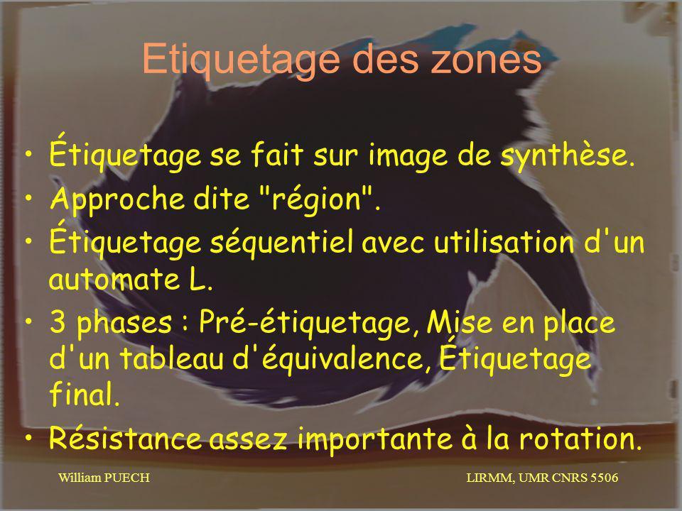 LIRMM, UMR CNRS 5506 William PUECH Etiquetage des zones Étiquetage se fait sur image de synthèse. Approche dite