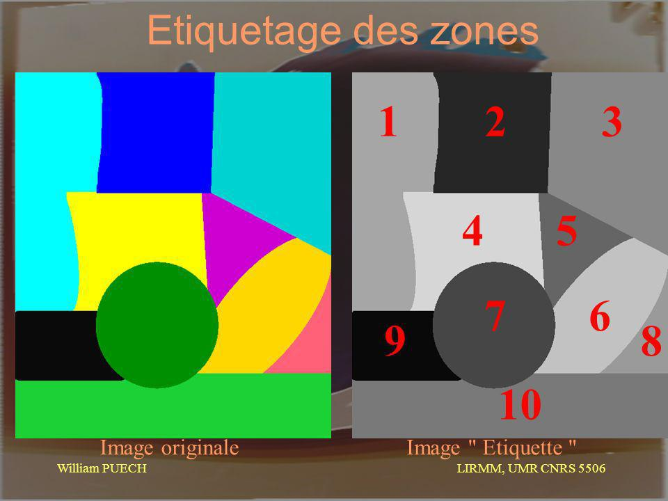 LIRMM, UMR CNRS 5506 William PUECH Etiquetage des zones Image originaleImage Etiquette 1 32 4 5 6 7 8 9 10