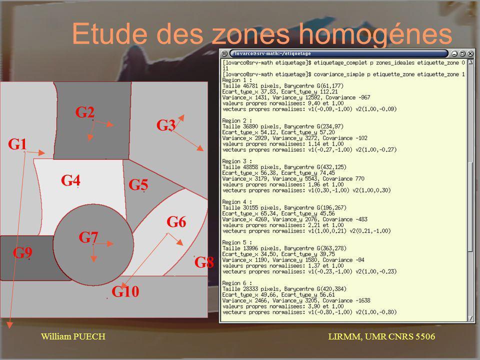 LIRMM, UMR CNRS 5506 William PUECH Etude des zones homogénes 1 32 45 67 89 10 G9 G1 G2 G3 G4 G5 G6 G7 G8 G10