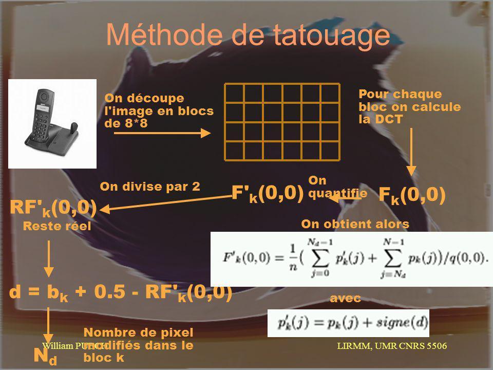 LIRMM, UMR CNRS 5506 William PUECH Méthode de tatouage Pour chaque bloc on calcule la DCT On découpe l'image en blocs de 8*8 F k (0,0) F' k (0,0) On q