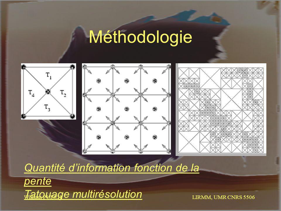 LIRMM, UMR CNRS 5506 William PUECH Méthodologie Quantité dinformation fonction de la pente Tatouage multirésolution