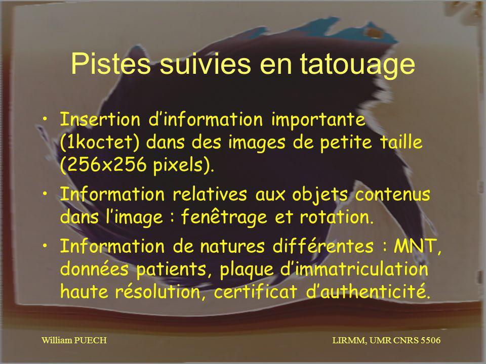 LIRMM, UMR CNRS 5506 William PUECH Pistes suivies en tatouage Insertion dinformation importante (1koctet) dans des images de petite taille (256x256 pi