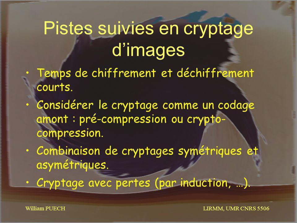 LIRMM, UMR CNRS 5506 William PUECH Pistes suivies en cryptage dimages Temps de chiffrement et déchiffrement courts. Considérer le cryptage comme un co