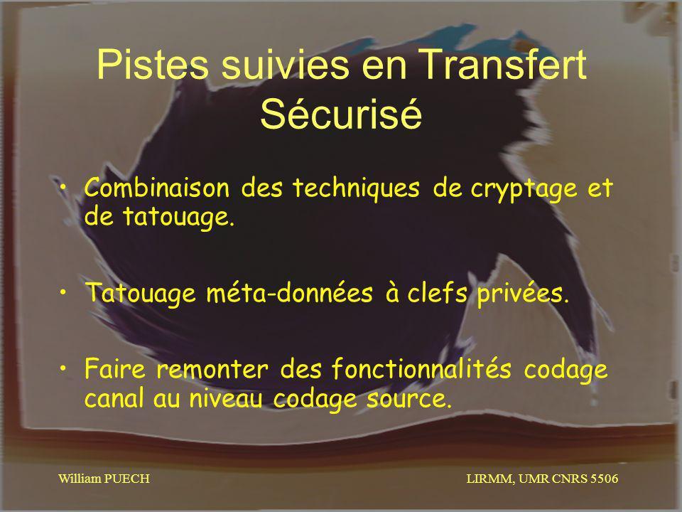 LIRMM, UMR CNRS 5506 William PUECH Pistes suivies en Transfert Sécurisé Combinaison des techniques de cryptage et de tatouage. Tatouage méta-données à