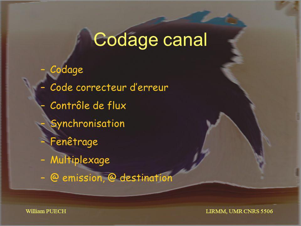 LIRMM, UMR CNRS 5506 William PUECH Codage canal –Codage –Code correcteur derreur –Contrôle de flux –Synchronisation –Fenêtrage –Multiplexage –@ emissi