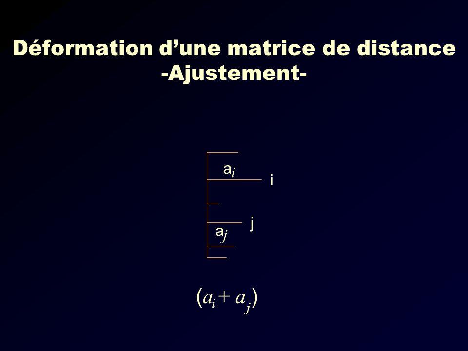 i j a a i j ( a + a ) j i Déformation dune matrice de distance -Ajustement-