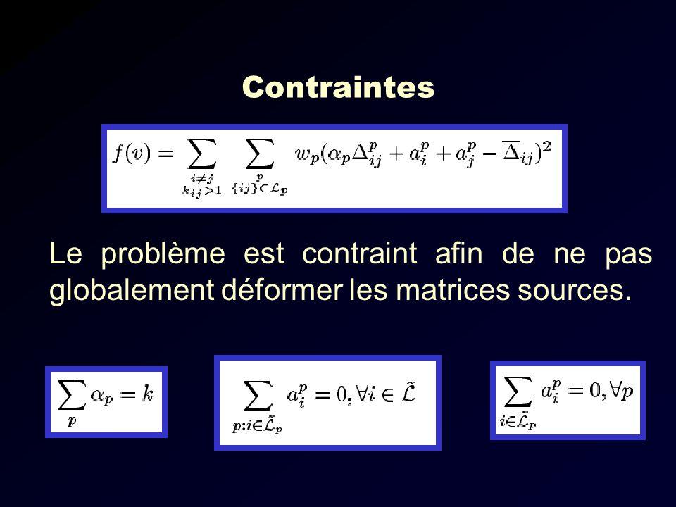 Contraintes Le problème est contraint afin de ne pas globalement déformer les matrices sources.