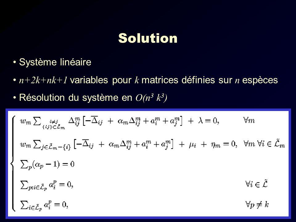 Solution Système linéaire n+2k+nk+1 variables pour k matrices définies sur n espèces Résolution du système en O(n 3 k 3 )