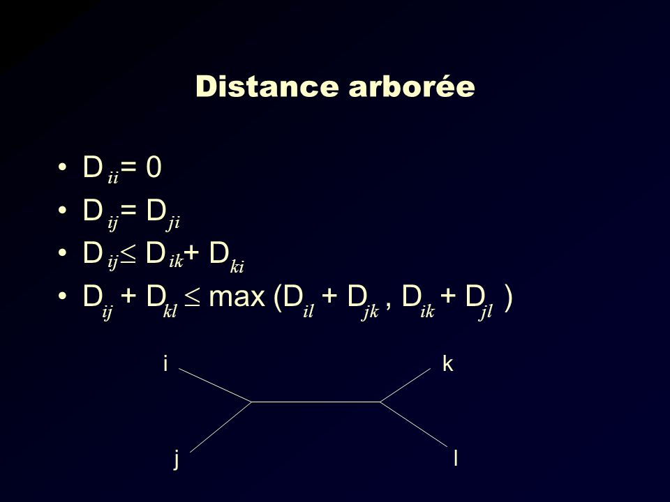 Distance arborée D = 0 D = D D D + D D + D max (D + D, D + D ) ii ijji ijik ki ijkliljkikjl i l k j