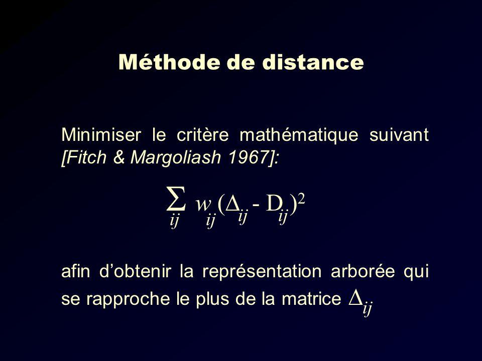 Méthode de distance Minimiser le critère mathématique suivant [Fitch & Margoliash 1967]: w ( - D ) 2 ij afin dobtenir la représentation arborée qui se rapproche le plus de la matrice ij