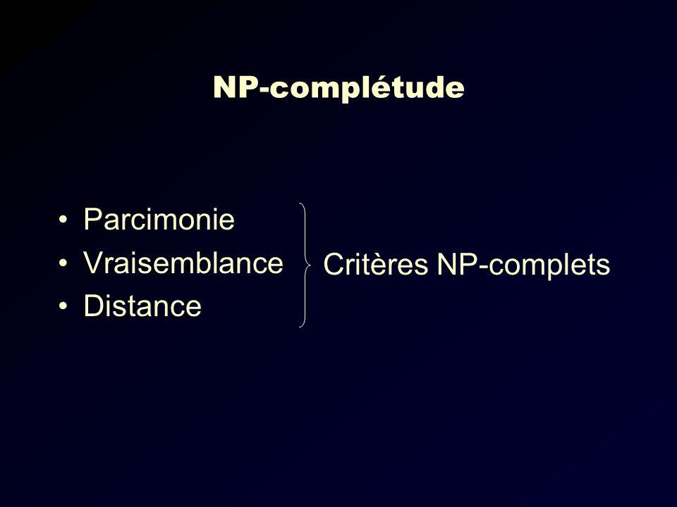 NP-complétude Parcimonie Vraisemblance Distance Critères NP-complets
